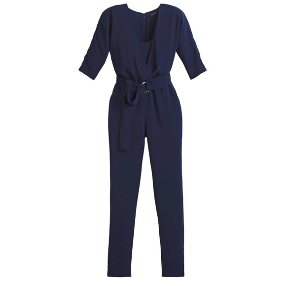 aafcb5e0cc5 NWT WHBM Jumpsuit Surplice Utility Navy Romper